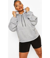 plus seam detail hoodie, grey
