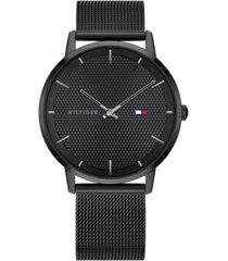 tommy hilfiger men's black-tone stainless steel mesh bracelet watch 40mm