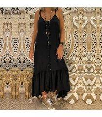 zanzea playa de las mujeres del verano del tirante de espagueti larga camiseta slip vestido de fiesta vestido -negro