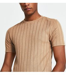 river island mens beige ribbed muscle fit t-shirt