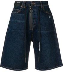off-white zip drawstring denim shorts - blue