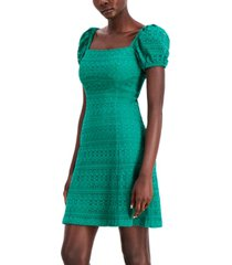 kensie puff-sleeve lace a-line dress