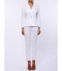 stylish long sleeve lapel solid color blazer + skinny pants women's twinset