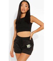 petite sweat shorts met opdruk, black