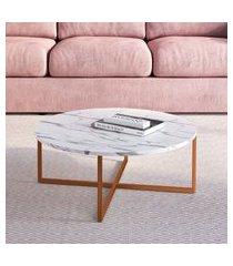 mesa de centro redonda artesano industrial 70cm thassos/cobre