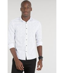 camisa masculina slim estampada floral manga longa branca