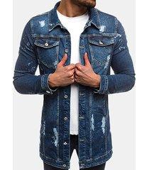 mens casual mid lunghezza multi tasche con cuciture pulsanti sottile giacca di qualità