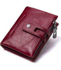 cartera mujer billetera piel genuina contact's doble zipper