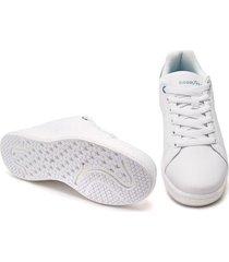 tenis para mujer marca goodyear color blanco con aplique gris escarchado goodyear - blanco