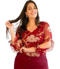blusa malla estampada y bolero en manga vino plica