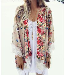 crochet lace trim random floral print 3/4 length sleeves coats