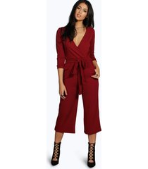 roll sleeve relaxed culotte jumpsuit, berry