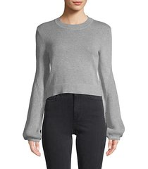 balloon-sleeve cotton cropped sweater