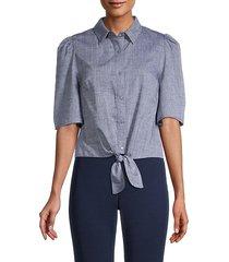 blossom tie-front short-sleeve shirt