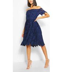 boutique kanten off the shoulder skater jurk, marineblauw