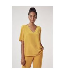 t-shirt decote v profundo lisa básico amarelo mel - 36