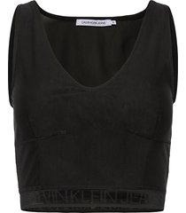 mesh logo tape cropped top crop tops svart calvin klein jeans