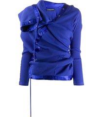 y/project lace-up asymmetric sweatshirt - blue