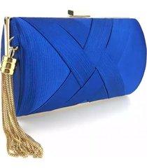 bolsa clutch liage cetim e metal alça azul escuro royal e dourada - tricae