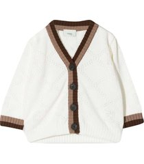 fendi white cardigan with brown details