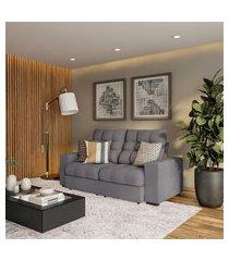 sofá 3 lugares retrátil e reclinável avinhão suede grafite