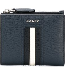 bally grained leather stripe wallet - blue