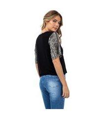 camiseta feminina manga onça preto
