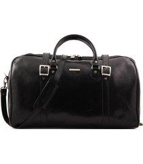 tuscany leather tl1013 berlino - borsa da viaggio in pelle con fibbie - misura grande nero
