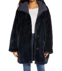 women's ugg nori oversize faux fur coat, size x-small/small - blue