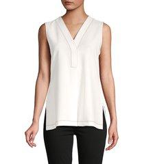 donna karan women's v-neck sleeveless top - white - size xl