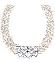 "akoya cultured pearl (6.5-7mm) and diamond (1 3/8 ct. t.w.) 3-strand 18"" necklace 14k white gold clasp"