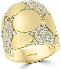 effy diamond wide disc statement ring (3/4 ct. t.w.) in 14k gold