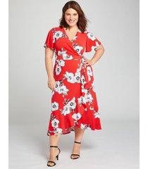 lane bryant women's knit kit crossover fit & flare dress 14/16 spring garden print