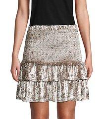 floral velvet mini skirt