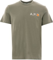a.p.c x carhartt logo tee   khaki   h26888-jaa