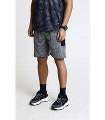 bermuda masculina esportiva ace com bolso e faixa lateral cinza mescla