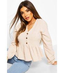 linen mix button down frill blouse, stone