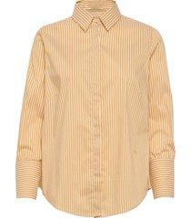 larina stripe shirt långärmad skjorta gul mos mosh