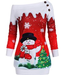 christmas tree snowman snowflake one shoulder plus size sweatshirt