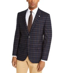 nautica men's modern-fit active stretch navy blue/brown plaid sport coat