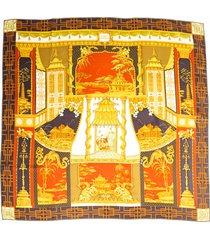 etro multicolor silk square scarf brown/multicolor sz: