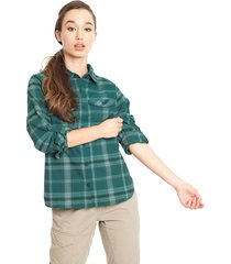 blusa columbia silver ridge long sleeve flannel verde - calce regular