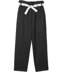 brunello cucinelli anthracite grey virgin wool trousers