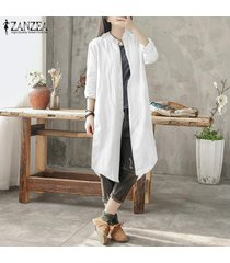 zanzea de algodón de las mujeres étnicas botones de la camisa visten de largo abajo outwear la blusa plus -blanquecino