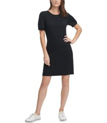 dkny twist-sleeve shift dress