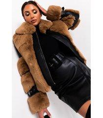 akira azalea wang faux fur trimmed moto jacket