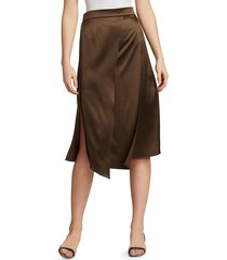 brunello cucinelli women's metallic panel stretch-silk skirt - chocolate - size 46 (10)
