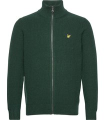 knitted rib zip through cardigan gebreide trui cardigan groen lyle & scott