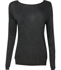 blusa dudalina manga longa decote careca ilhós feminina (cinza mescla escuro, g)