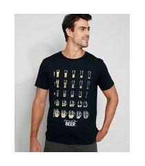 camiseta masculina copos de cerveja manga curta gola careca preta